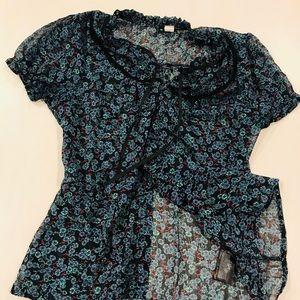 Divided Floral Short Sleeved Top Size 6